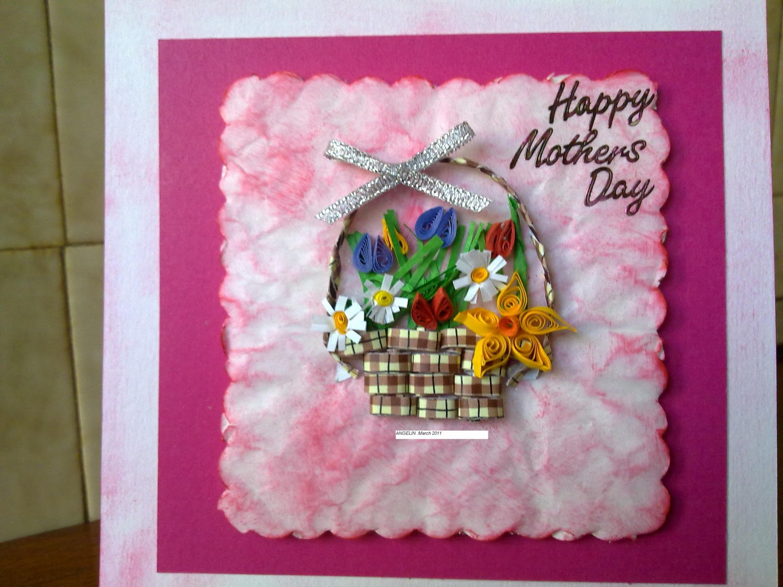 Papercrafts Quilled Basket With Flowers