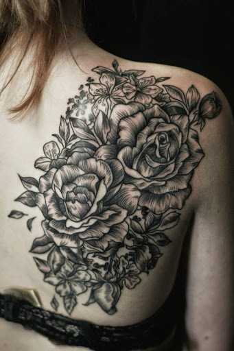 Rose flower tattoo designs ideas for men and women on Shoulder