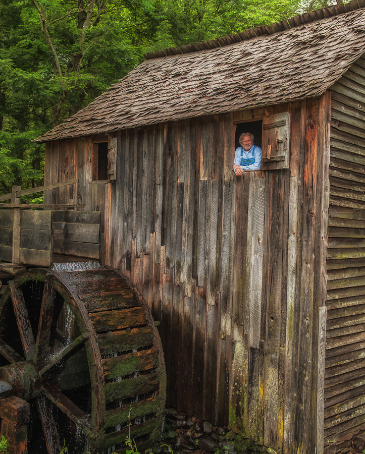 The Miller in his Mill by Lynn Wiezycki - Buildings & Architecture Public & Historical ( tn, mill, building, waterwheel, cades cove )
