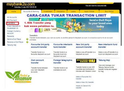 Cara Tukar Transaction Limit Maybank2u