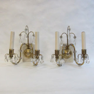 Brass & Crystal Sconce Pair