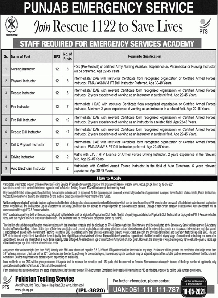 New Jobs in Rescue 1122 by PTS 2021 (Age 48 max) - Join Rescue 1122 PTS Jobs by www.newjobs.pk