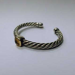 18 K Gold & Sterling Silver Citrine Cuff