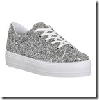 Office Diva silver glitter lace up sneakers