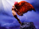 Mysterious Red Winged Angel