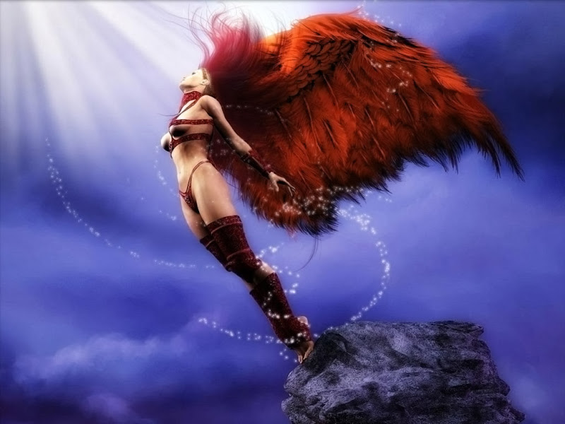 Mysterious Red Winged Angel, Angels