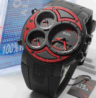 jam tangan Alfa original 047 black rubber Red