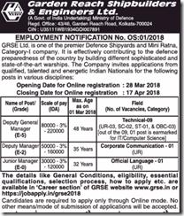 GRSE Employment Notice OS 01-2018 www.indgovtjobs.in