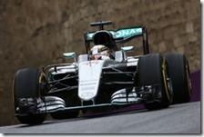 Lewis Hamilton nelle prove libere del gran premio d'Europa 2016