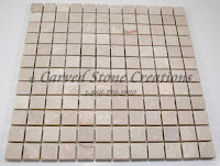 1x1 Botticina Cream Marble Tumbled Mosaic