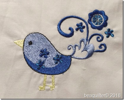 retro birds machine embroidery