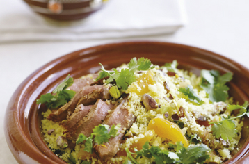 Moroccan-style lamb with pistachio couscous recipe