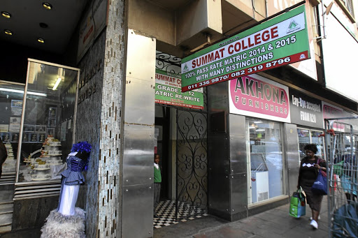 Summat College in the Johannesburg CBD where teachers are accusing the school management of not paying their salaries. / SANDILE NDLOVU