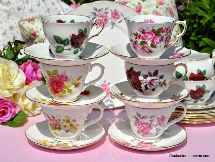 English Roses eclectic vintage tea set and cake plate