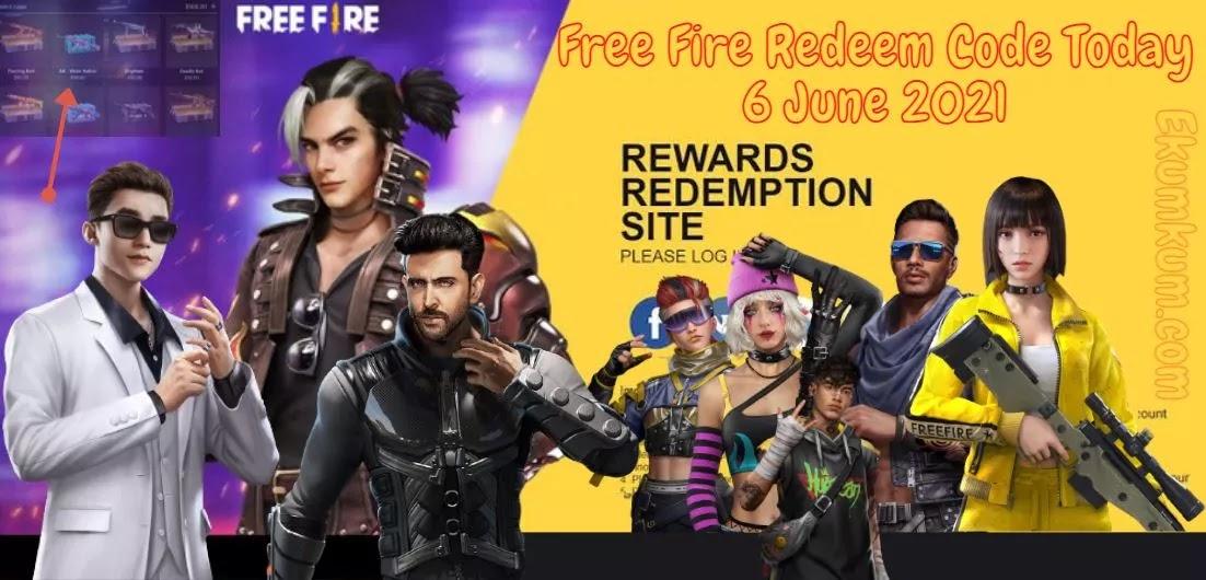 Free Fire Redeem Code 6 June 2021 FF   Free Fire Redeem Code Today Indian Server - FF Redeem Code 2021 Today New India 6 - 7 June 2021
