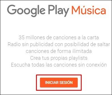 Abrir mi cuenta Google Play Musica - 2