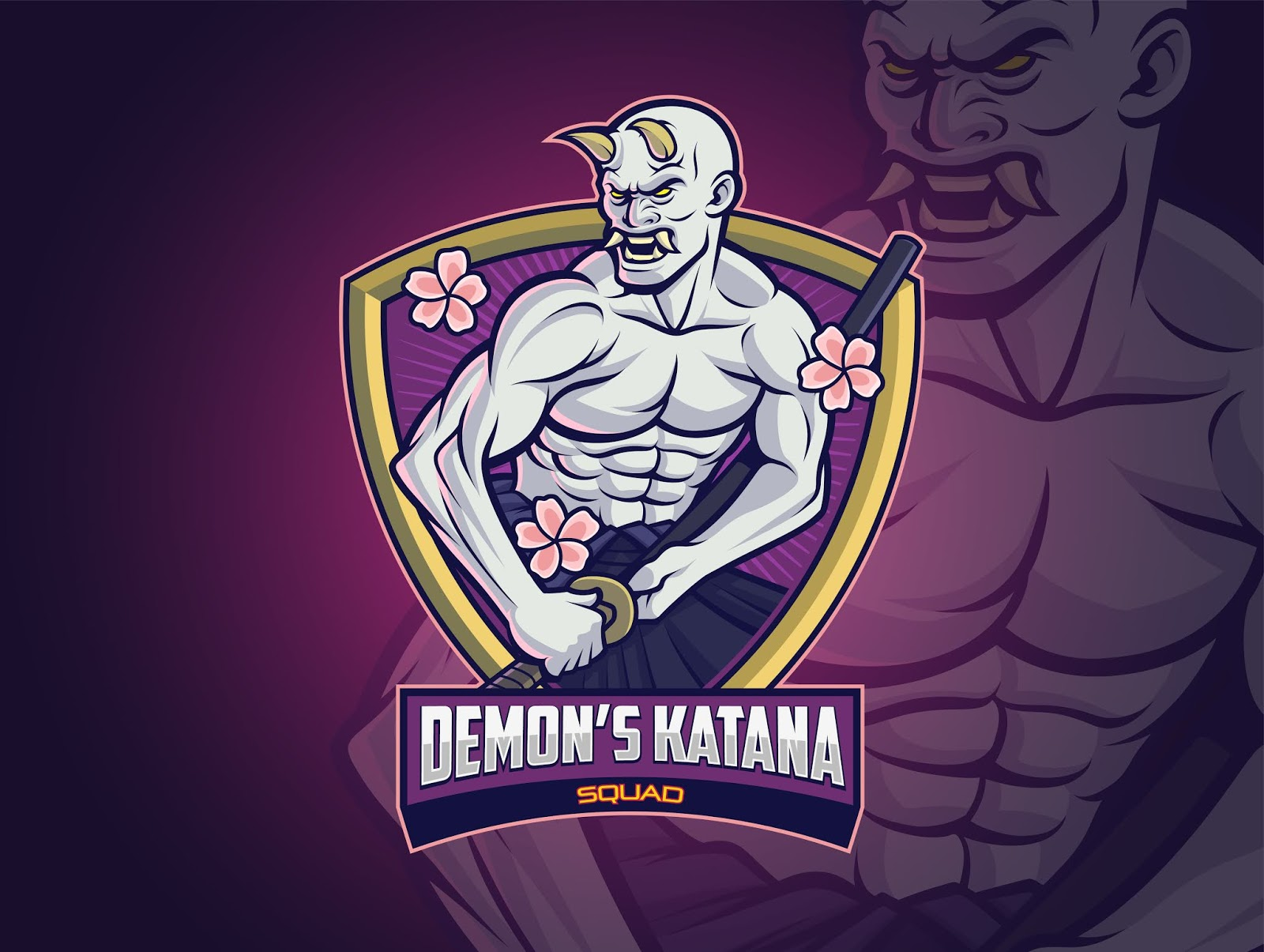 Hannya Demon Esports Logo Design Your Squad Free Download Vector CDR, AI, EPS and PNG Formats