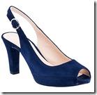 Unisa blue suede peep toe block heel shoe