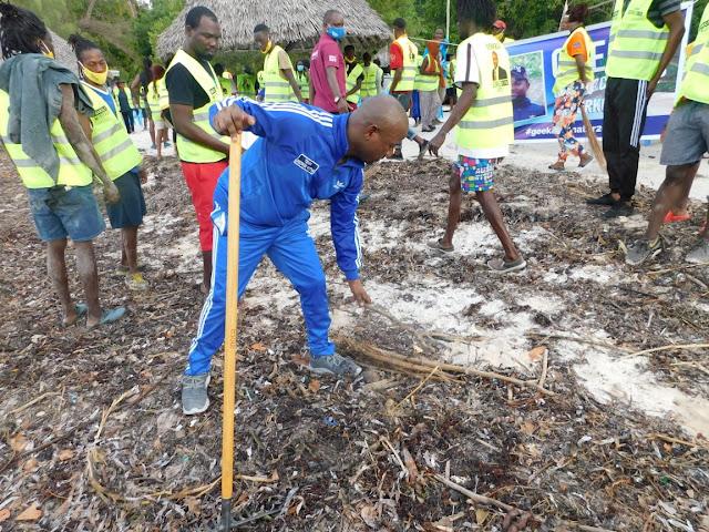 Kilifi incoming Senator lawyer George Kithi spearheaded a cleaning drive at Mtwapa photo
