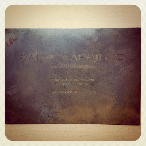 Sally Laponte made a statement with this invitation made from a slab of metal.