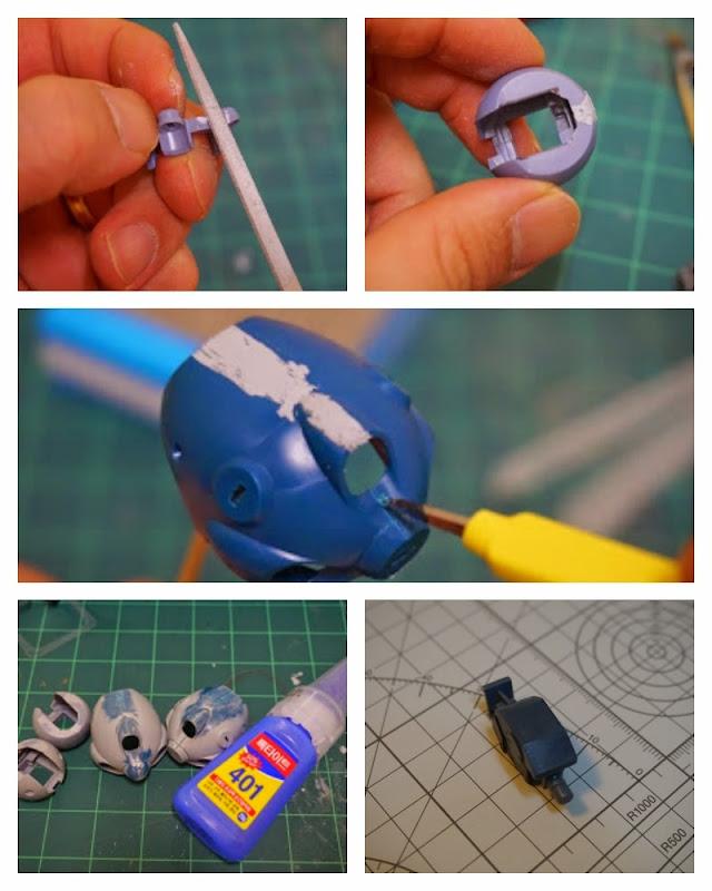 건담 프라모델 부품을 가공한 다음 접합선을 접착제와 퍼티로 수정