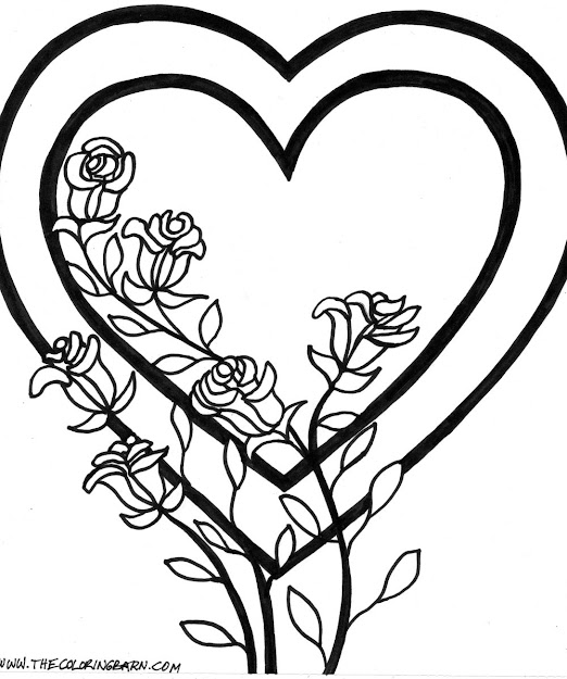Flower Page Printable Coloring Sheets   Coloring Pages When The  Printable Valentines Day