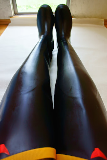Black Shiny Wet Look Rubber Hip Boots Thigh Waders Made In