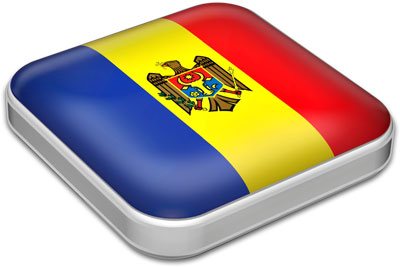 Flag of Moldova with metallic square frame
