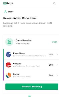 Contoh Screenshot Profil Resiko Bibit