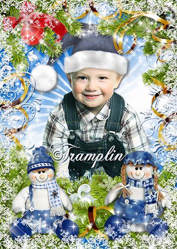 Новогодняя рамка – Кладет Дед Мороз всем детишкам под елку по мягкой игрушке, по громкой хлопушке