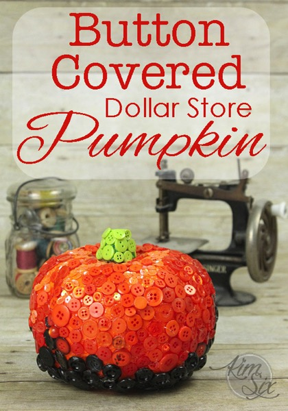Button covered dollar store pumpkin