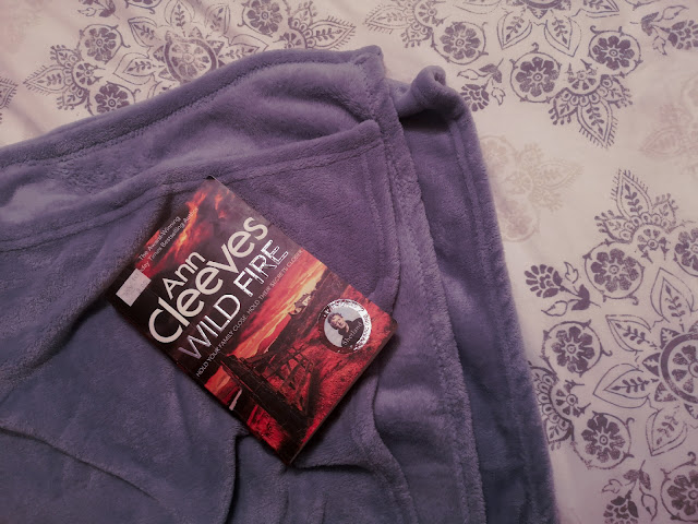 A book (Wild Fire by Ann Cleeves) on a blanket