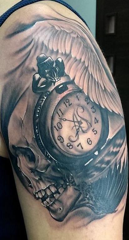 asas_de_anjo_relgio_de_bolso_braço_de_tatuagem
