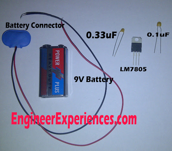 Components to make a 5 volt supply through 9 volt battery