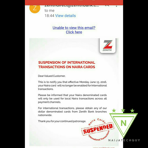 Zenith Bank Suspends Use Of Naira Cards For International Transactions - Phones - Nairaland