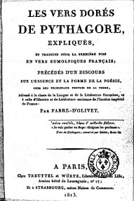 Cover of Fabre d'Olivet's Book Les Vers Dores de Pythagore (1813,in French)