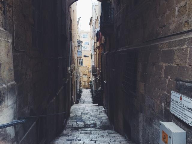 Valletta, ancient city, Malta, tiny alley