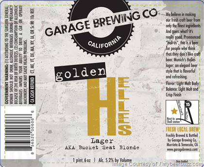 Garage Project Golden Helles Lager (AKA Bucket Seat Blonde