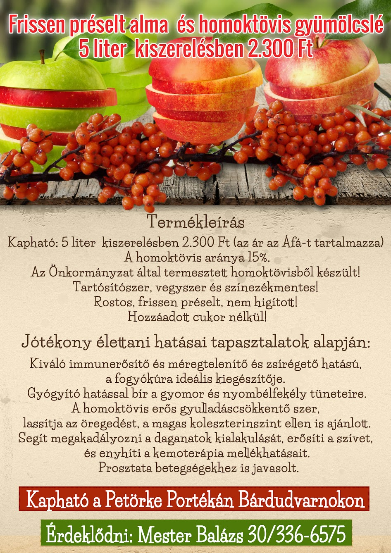 Frissen préselt alma és homoktövis gyümölcslé termékleírás