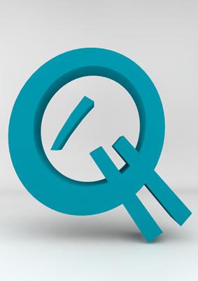 lettre 3D homme joker turquoise - Q - images libres de droit