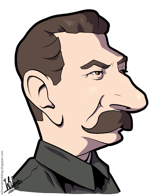 Cartoon caricature of Joseph Stalin.