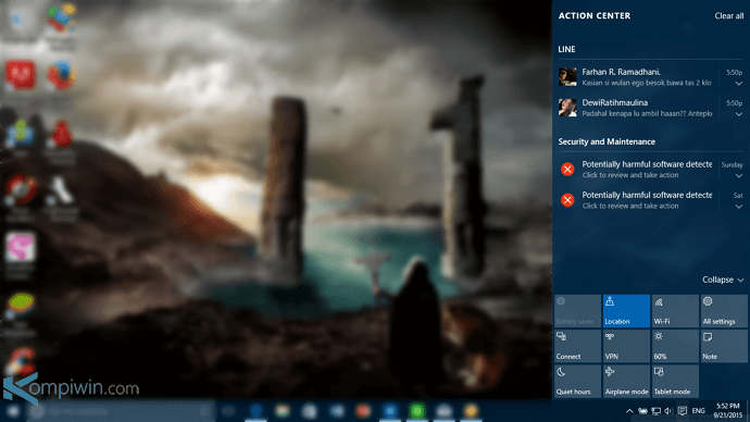 cara mengubah notifikasi tombol quick action windows 10 2