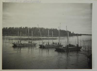 Понтоны для сверления дна на своих рабочих местах.В районе порогов около Верховского острова.1932 г.(из фондов Эст. гос. архива)
