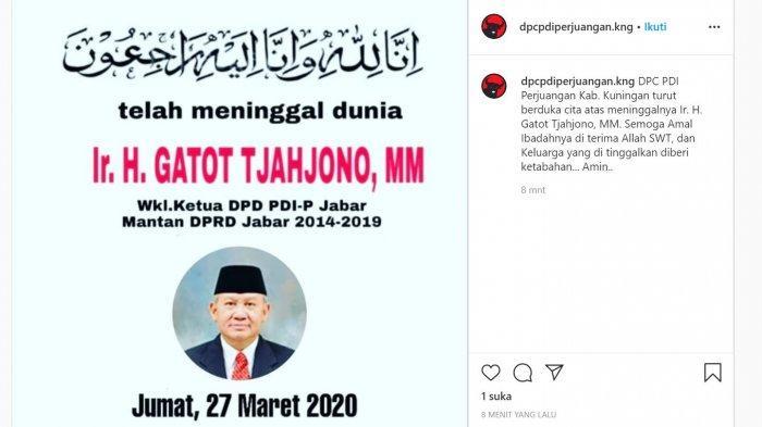 Geger! Sempat Dikabarkan Meninggal gegara Corona,  Wakil Ketua DPD PDIP Jabar Hidup Lagi