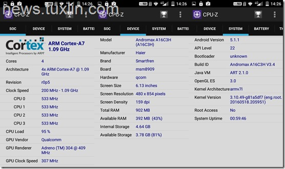 Benchmark Andromax A A16C3H CPU-Z
