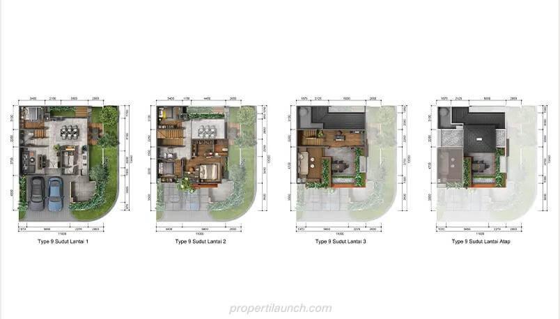 Denah Rumah Puri 11 Heritage Residence Tipe 9 Sudut