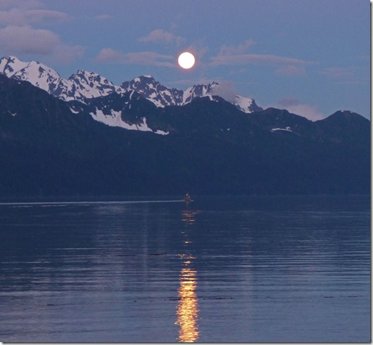 Full moon, rising over Kenai Mountains and Resurrection Bay, midnight of June 20th/21st