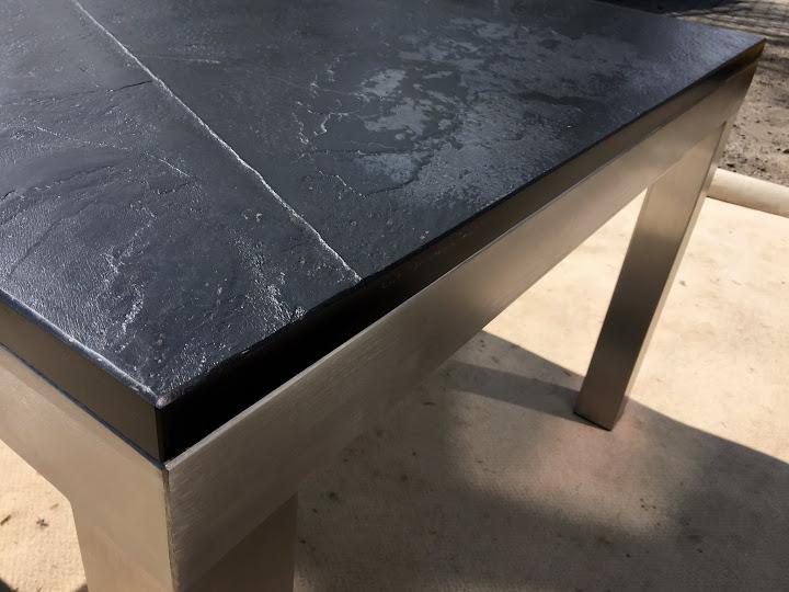 Wohnzimmertisch esstisch k chentisch schiefer schwarz gestell in edelstahl neu ebay for Wohnzimmertisch edelstahl