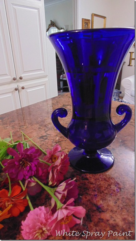 Zinnias and Cobalt Blue Vase