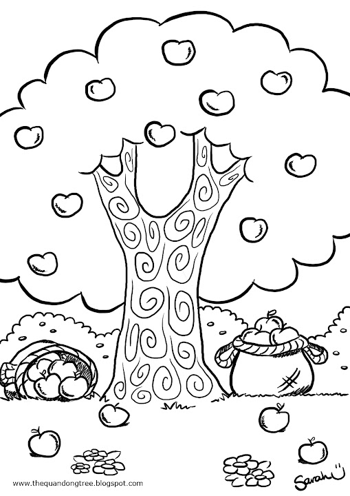 Free coloring pages of apple picking